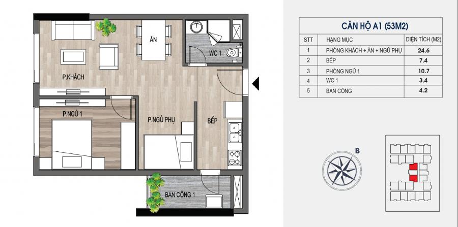 Mẫu căn hộ 1,5PN