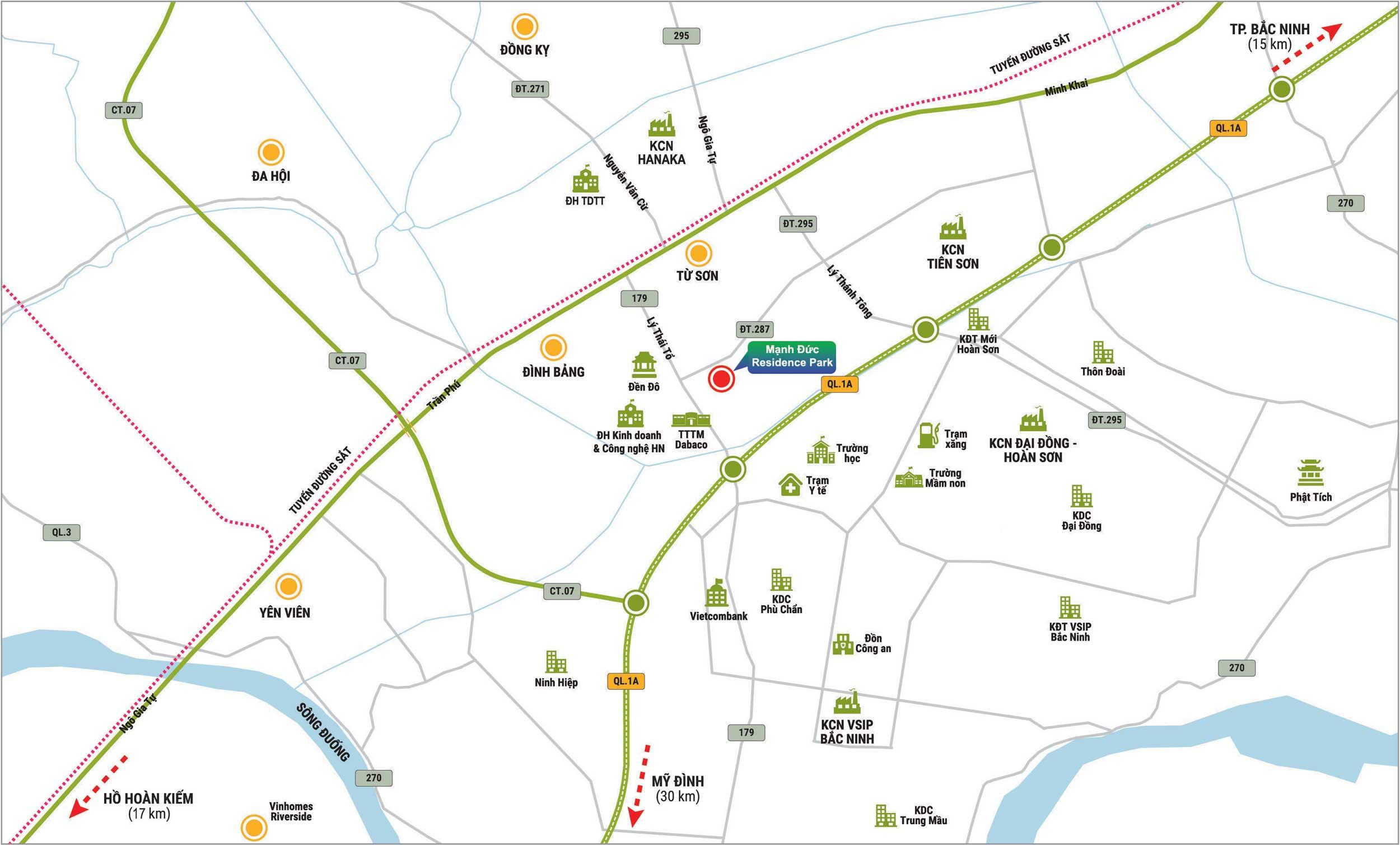 Vị trí dự án Mạnh Đức Residece, Tân Hồng, Từ Sơn, Bắc Ninh