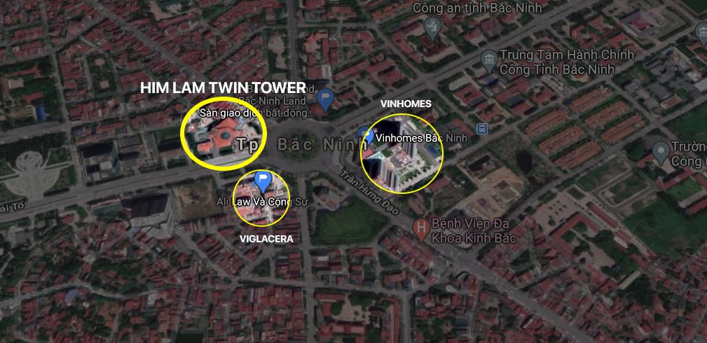 Vị trí dự án Him Lam Twin Tower Bắc Ninh
