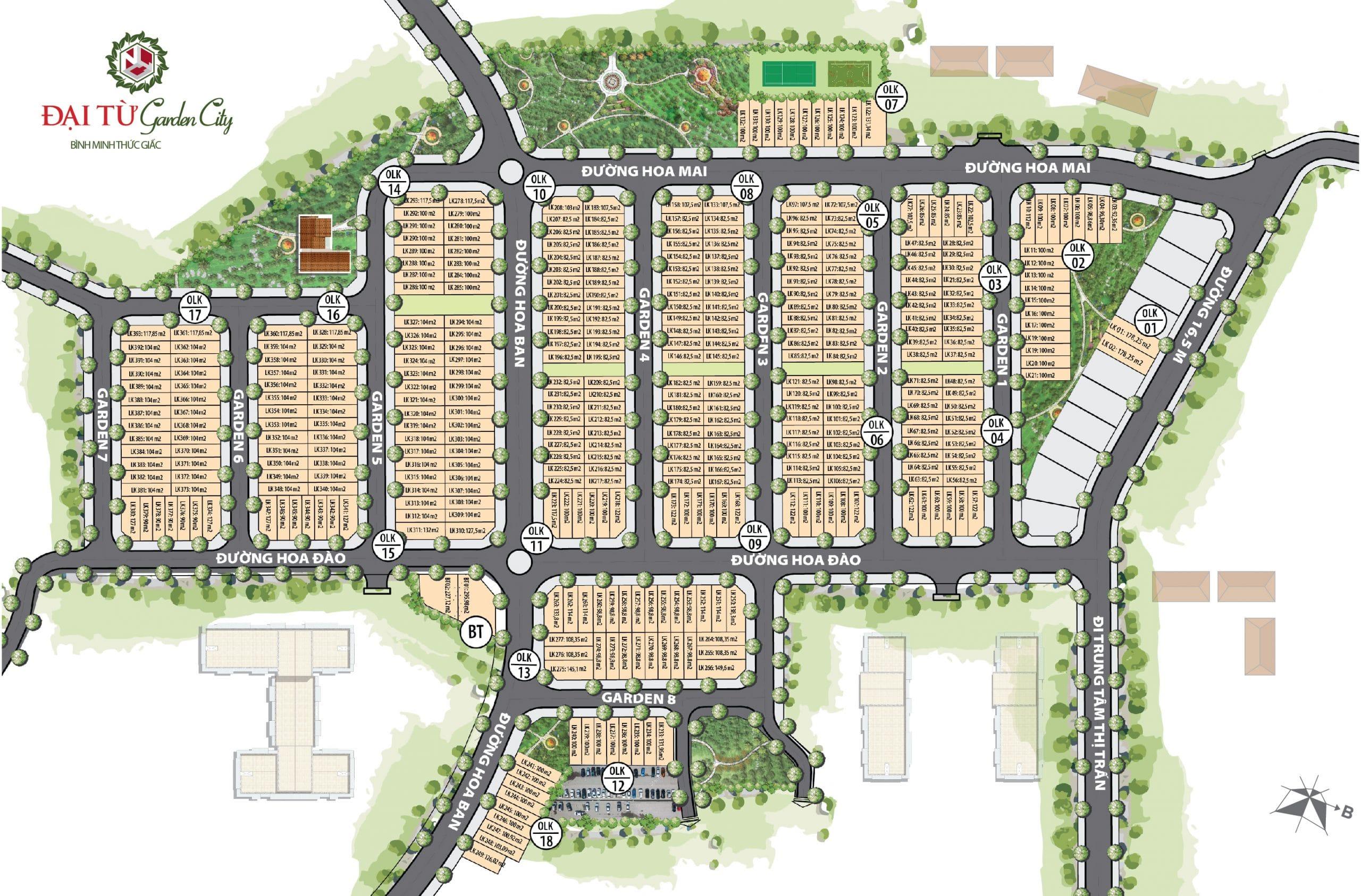 Mặt bằng phân lô dự án Đại Từ Garden City Thái Nguyên