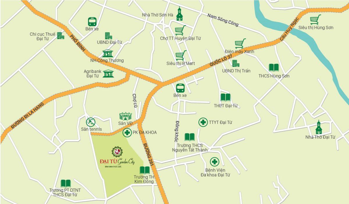 Vị trí dự án Đại Từ Garden City Thái Nguyên